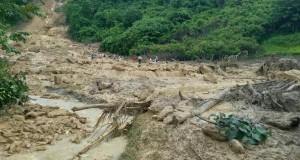 Bencana longsor terjadi di Desa Tobela, Kecamatan Poreu, Kabupaten Kolaka Utara, Jumat (01/04/2016)