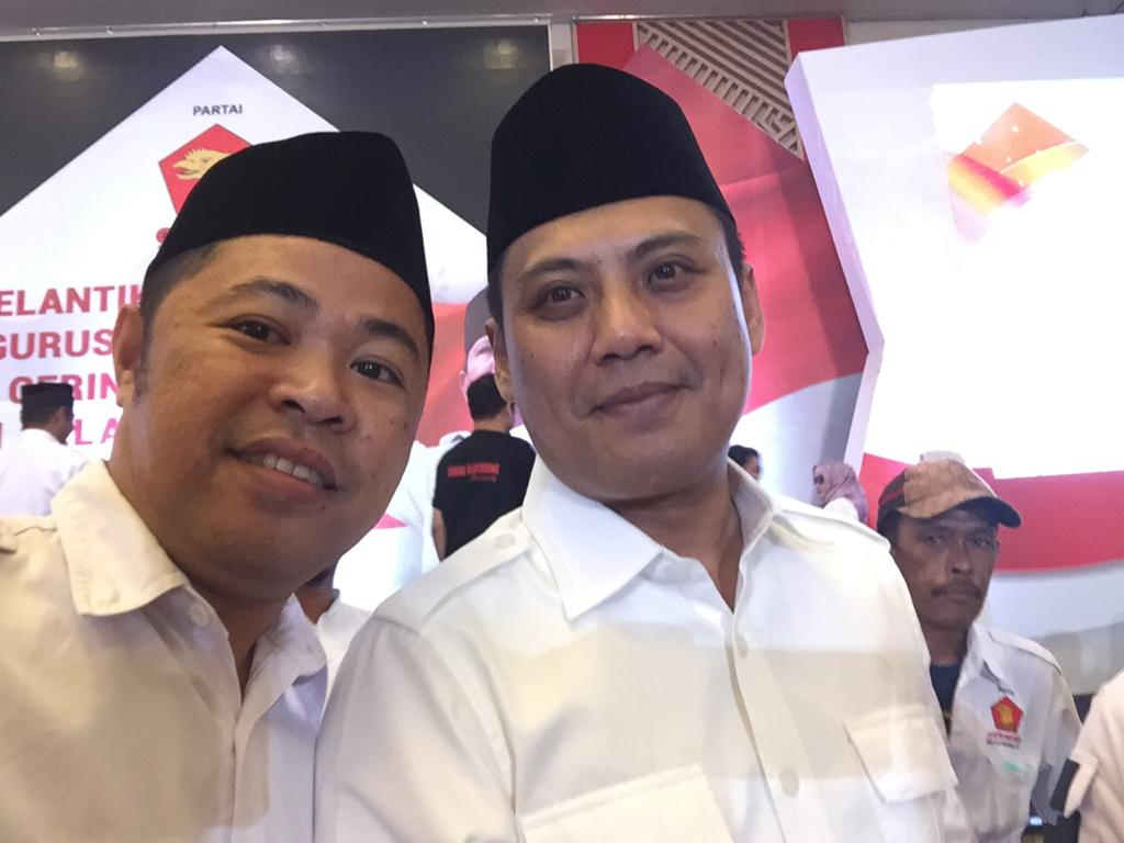 Mantan Jubir DoaMu Syamsul Bahri (Sekertaris DPD Gerindra Sulsel) bersama Ketua DPD Gerindra Sulsel Andi Iwan Darmawangsa